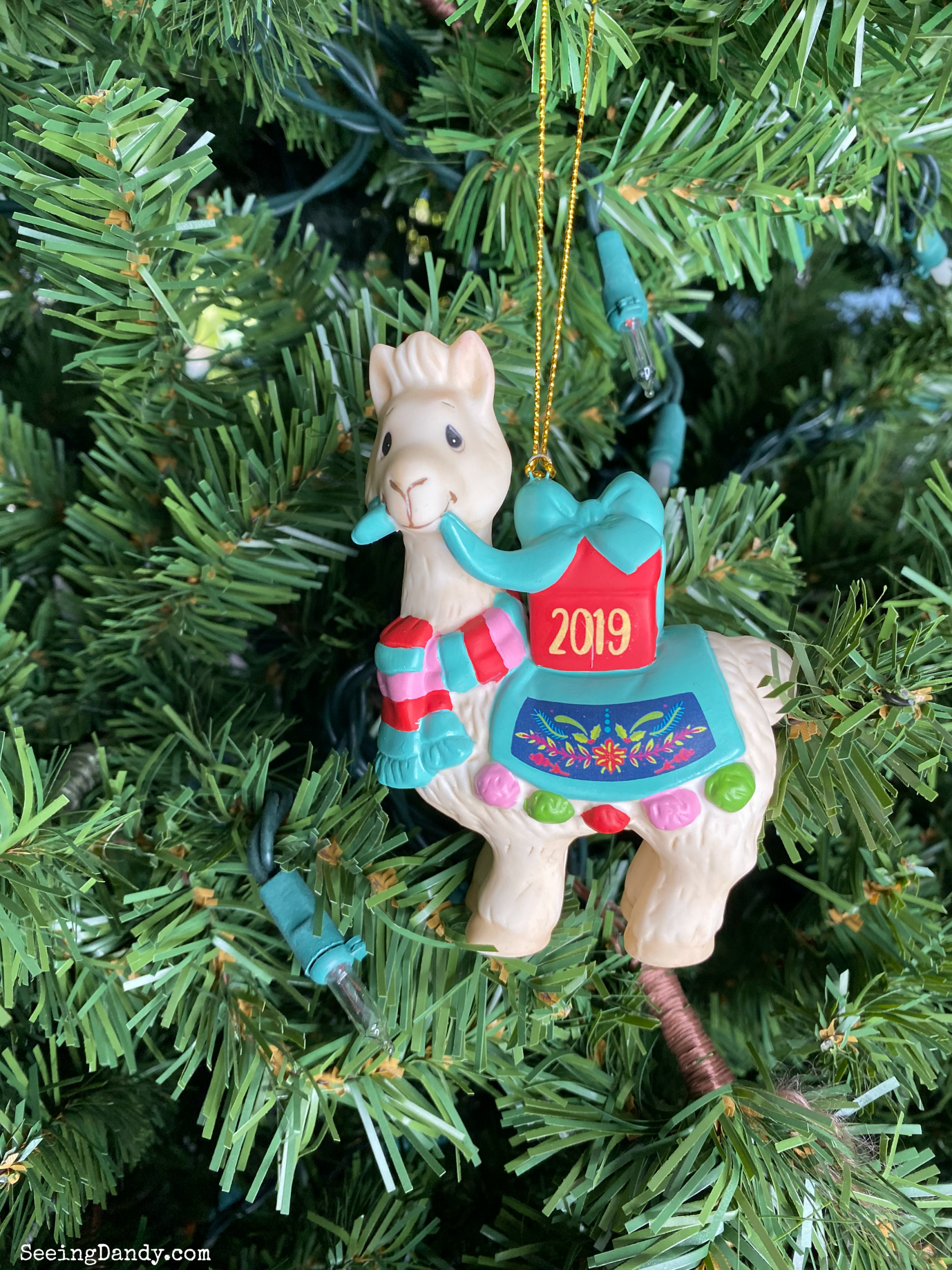 Precious Moments llama Christmas ornament