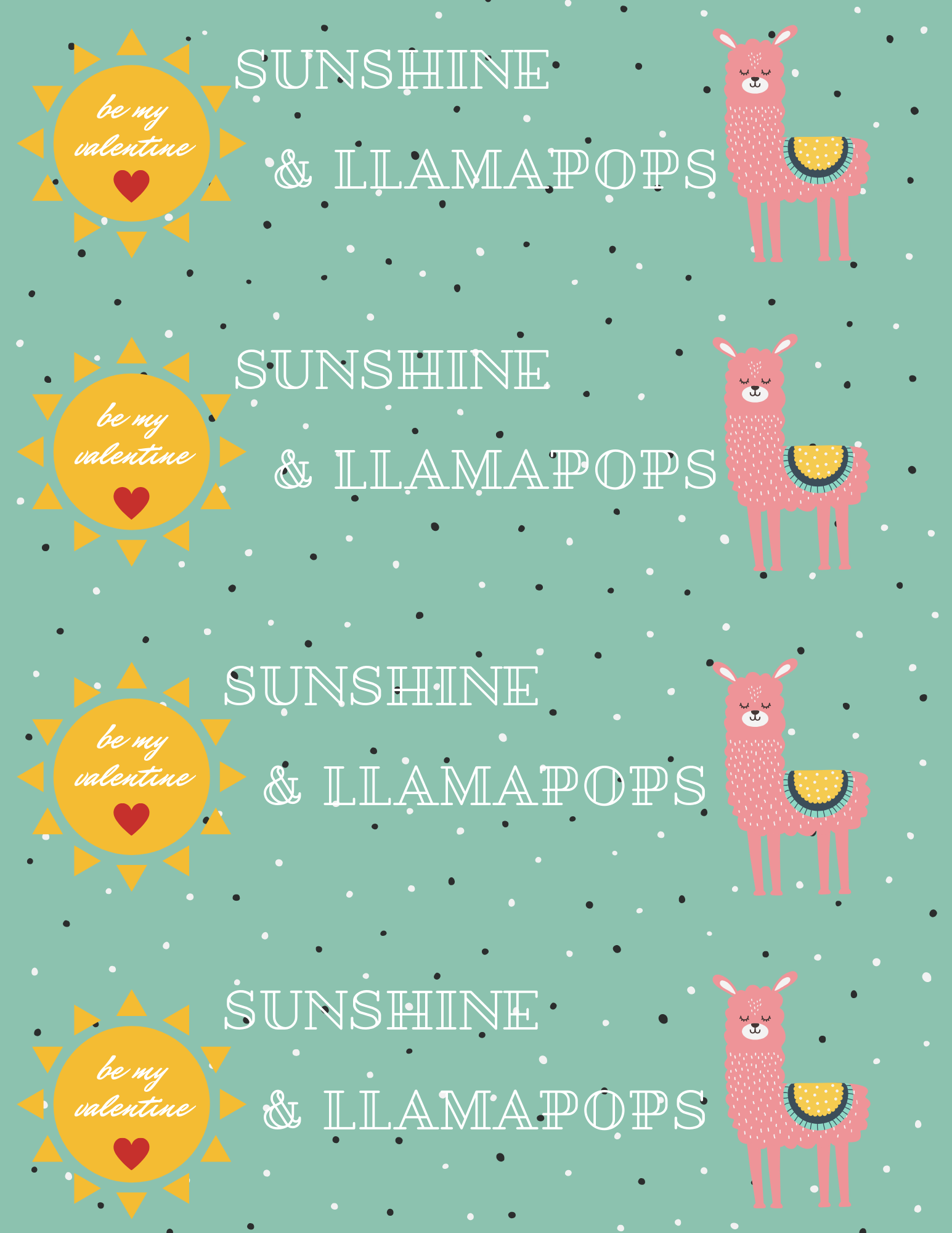 Easy DIY sunshine and lollipops llamapops llama Valentine cards