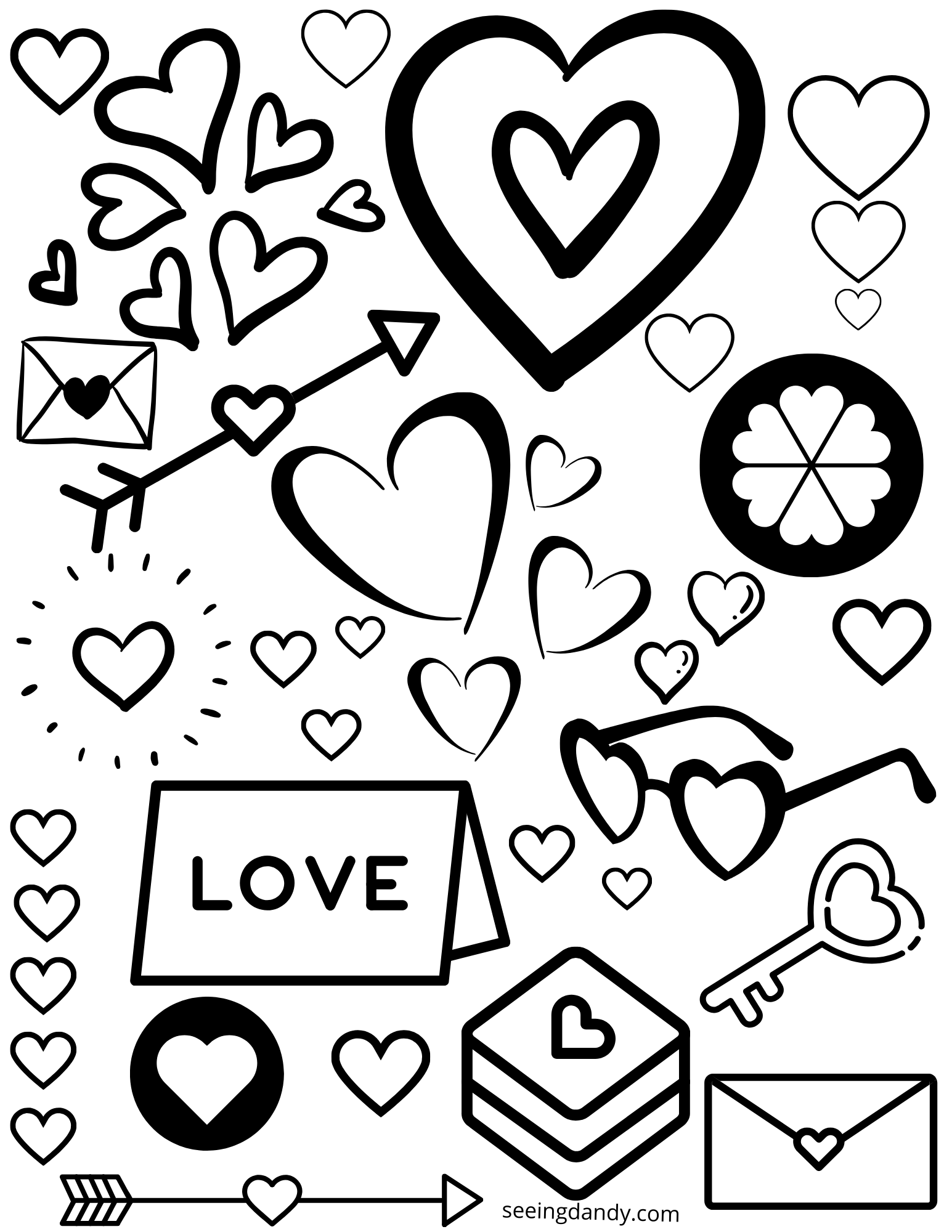 Printable Valentine coloring page for school holiday Valentines Day party