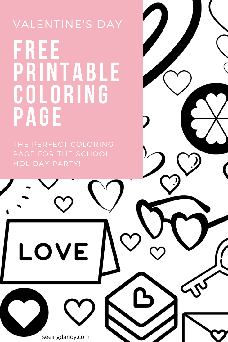 Easy free printable Valentine coloring page for school party