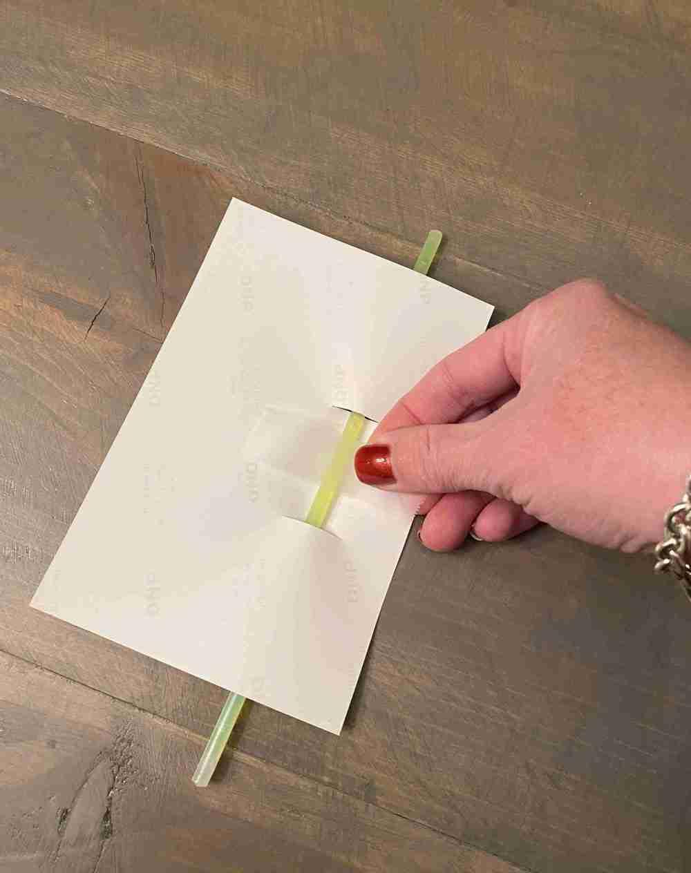 Valentine Walgreens photo, yellow glow stick, scotch tape