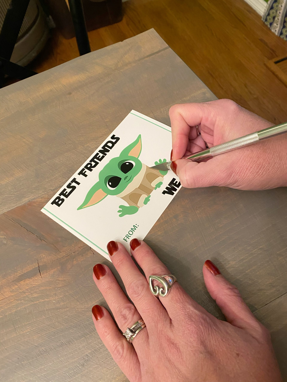 Yoda Valentine, exacto knife, DIY valentines, james avery mother ring, heart ring, grogu valentines