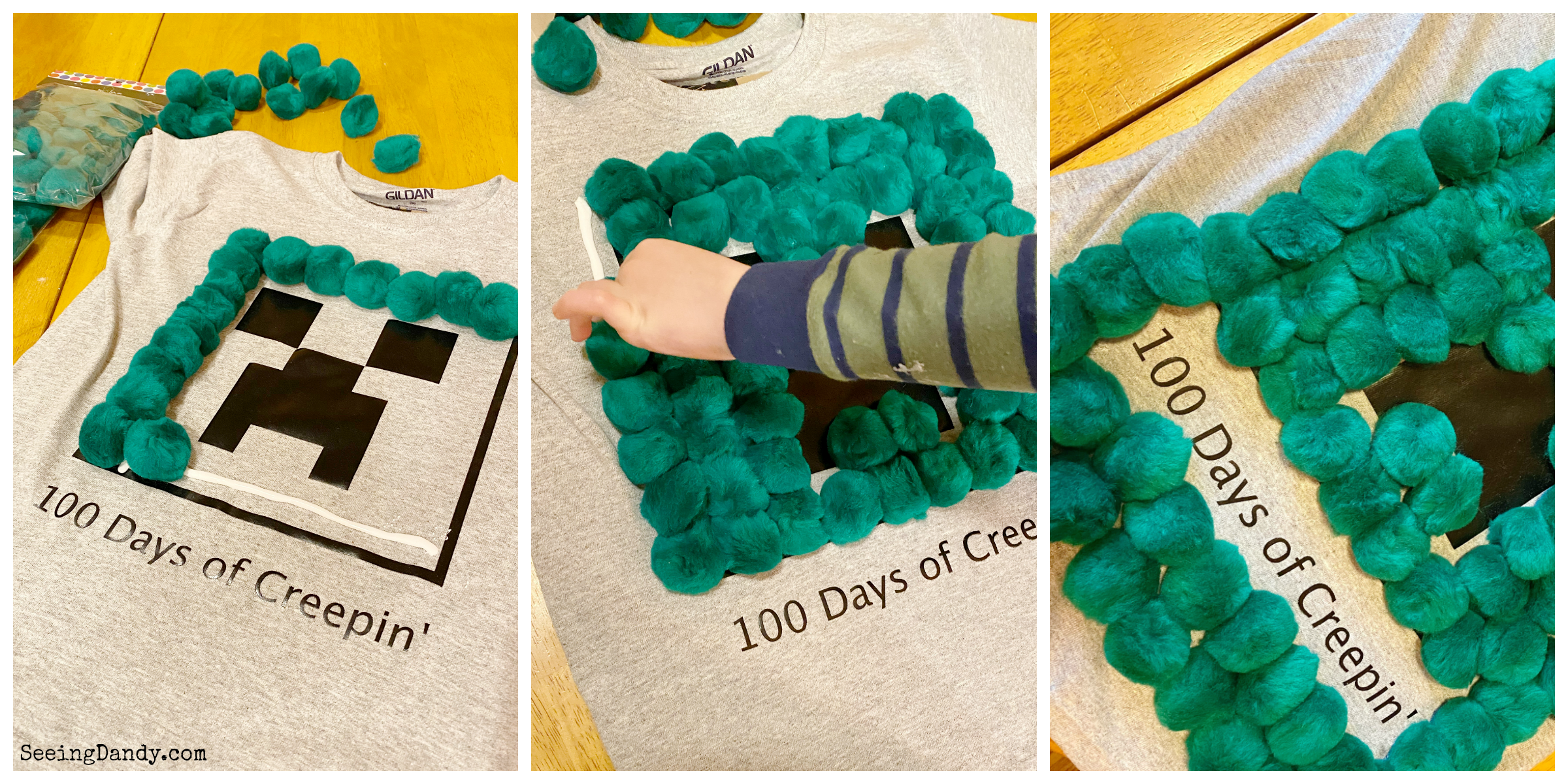 Creating DIY shirts for 100th day of school