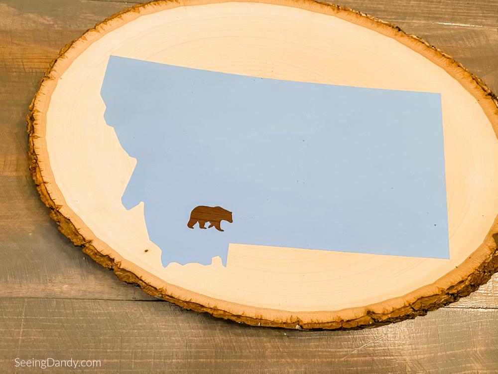 Vinyl wood slice state sign
