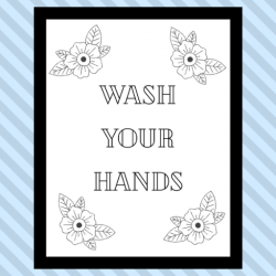 Wash your hands printable coloring page