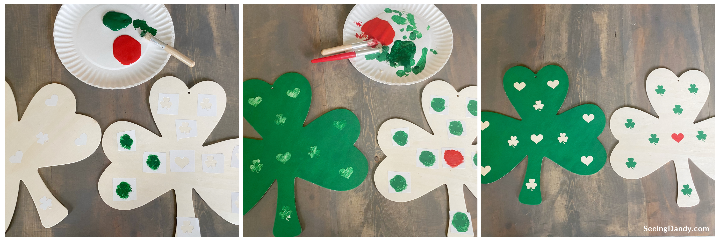 Farmhouse style shamrock craft with vinyl and paint