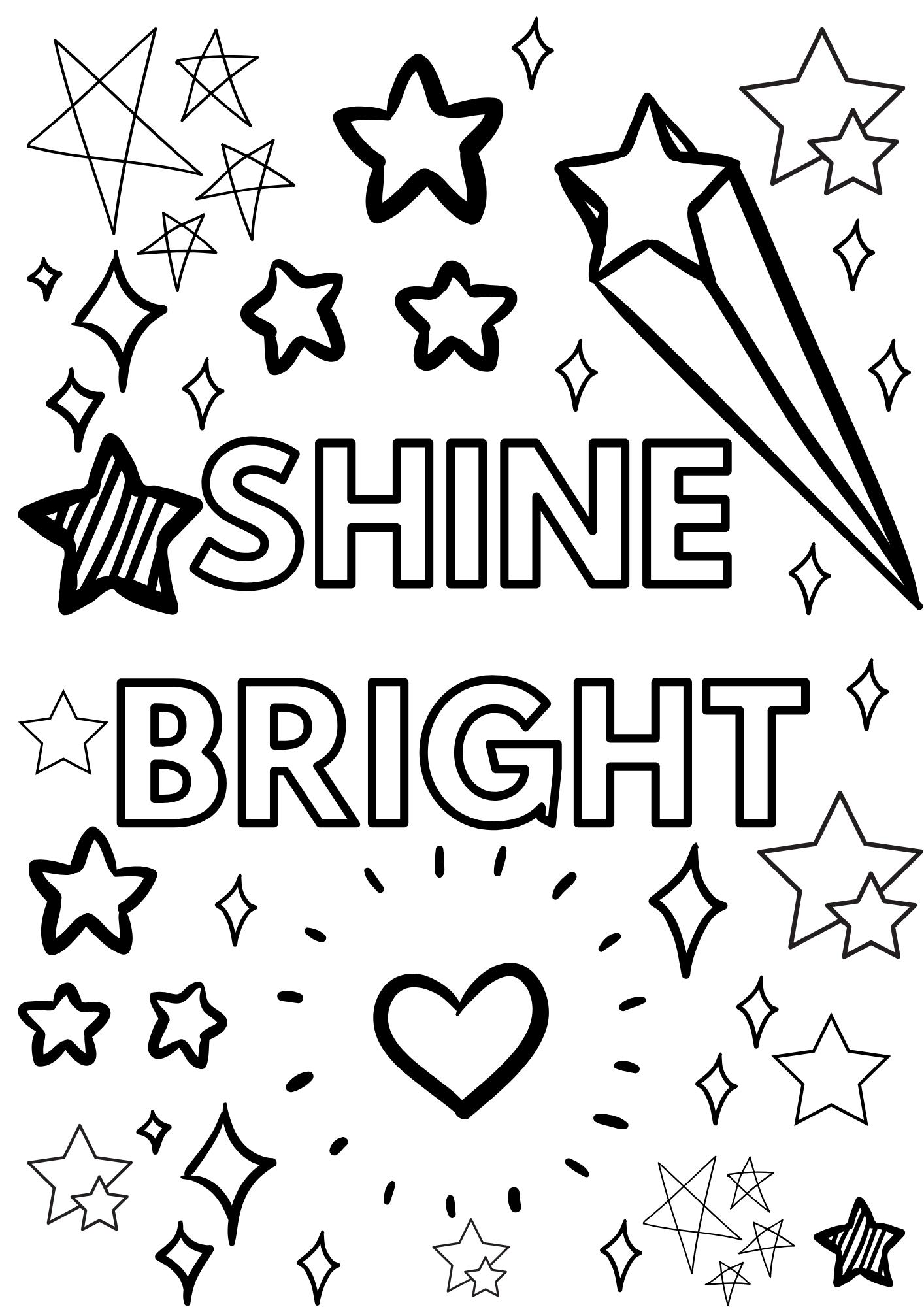 Shine Bright coloring page stars