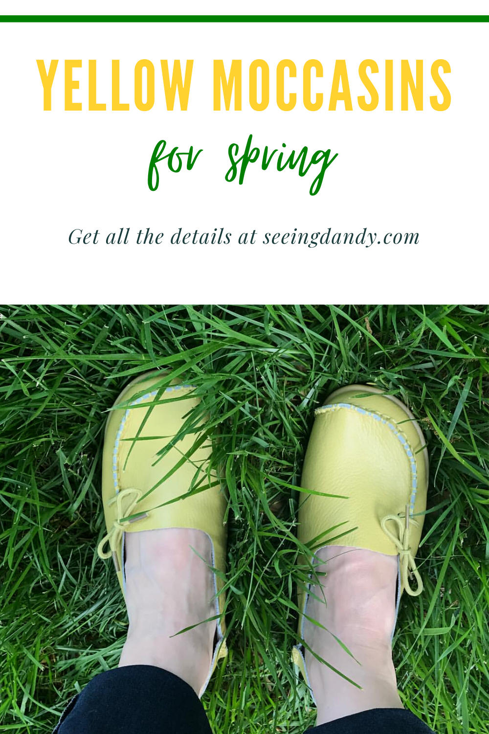 Perfect yellow moccasins for spring style.