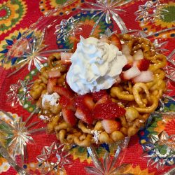 Delicious strawberry shortcake funnel cake recipe