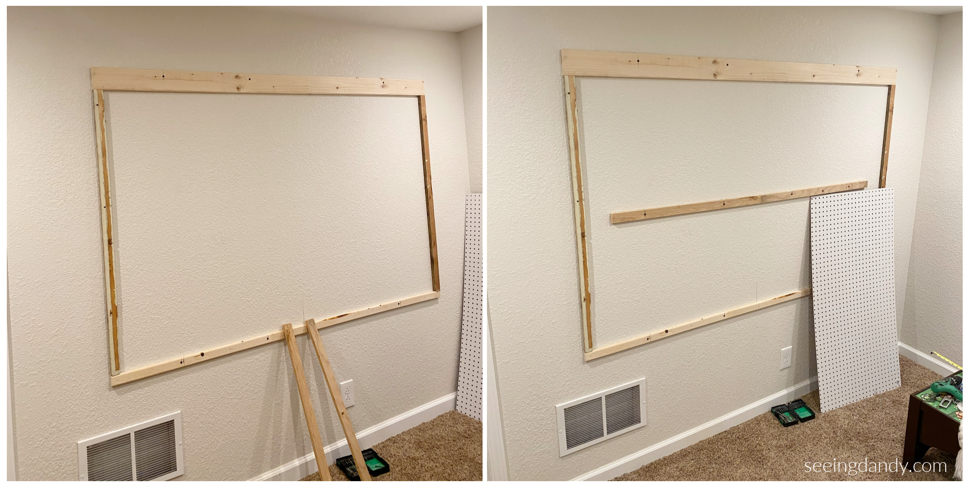 Framing nerf gun storage wall
