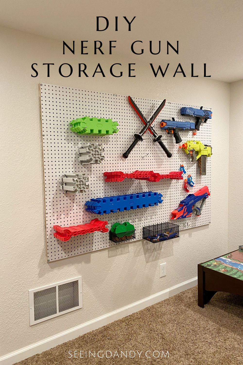 Easy DIY nerf gun storage wall
