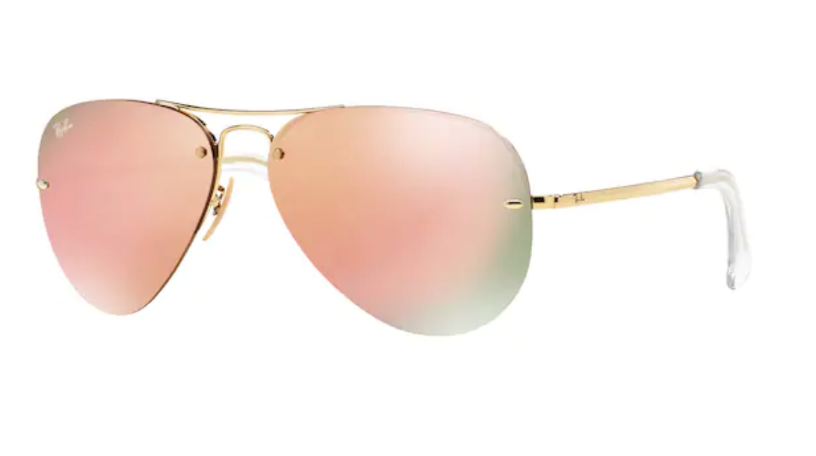 Ray Ban rose gold aviator sunglasses