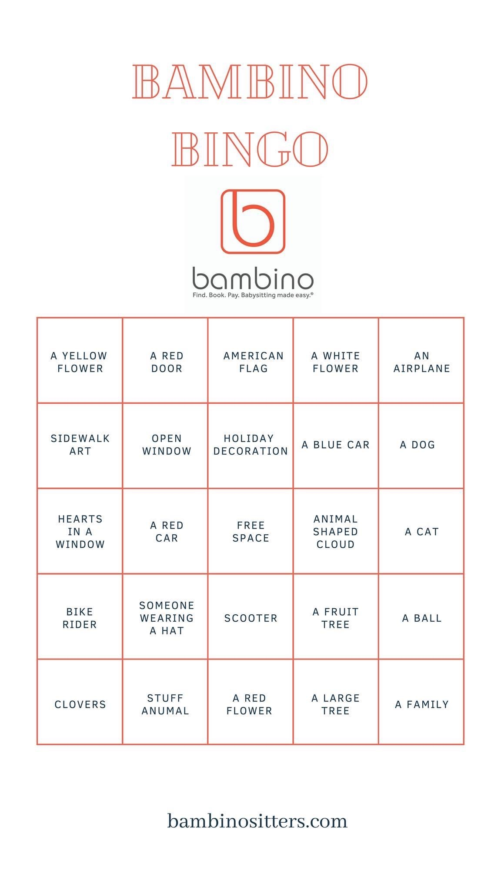 free printable scavenger hunt bingo game