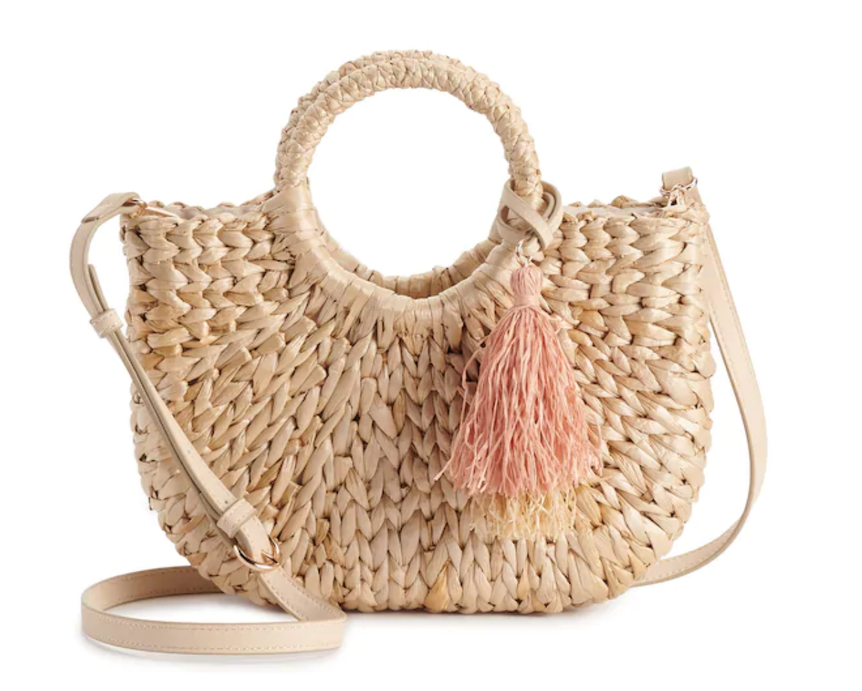 Rose gold straw handbag LC Lauren Conrad Kohls
