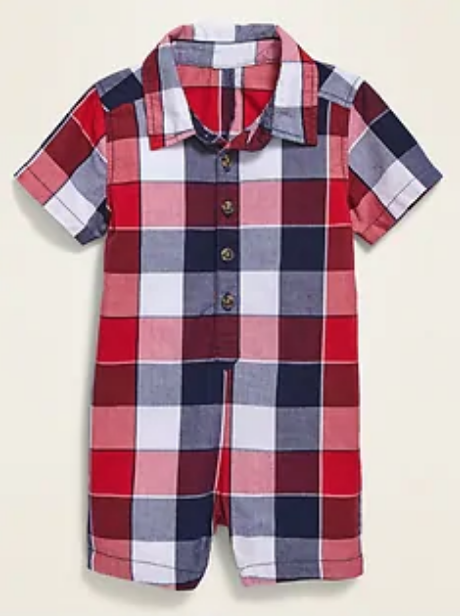 baby boy Old Navy polo one piece, red white blue plaid