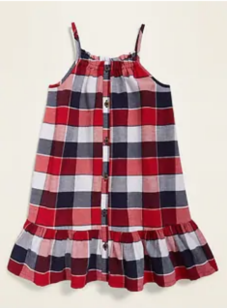 Old Navy red white blue plaid toddler dress, girl summer style
