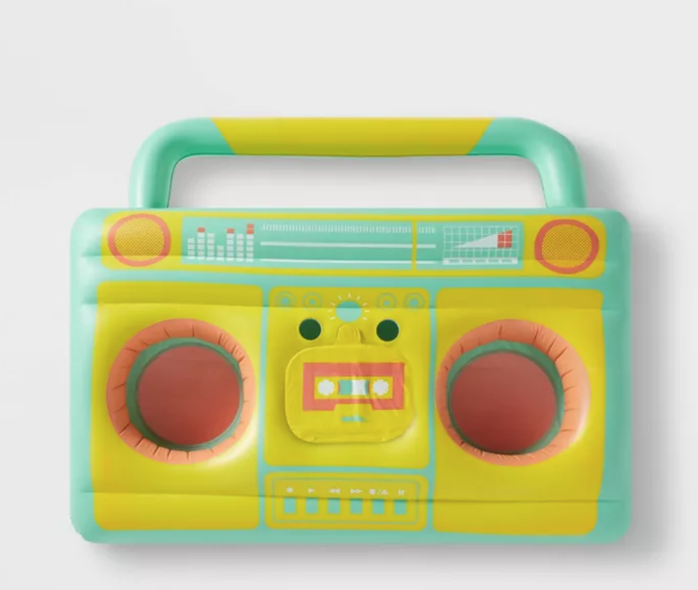 Boom box floatable drink holder, pool time fun, 80s vintage stereo