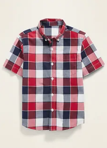 boys plaid red white blue shirt