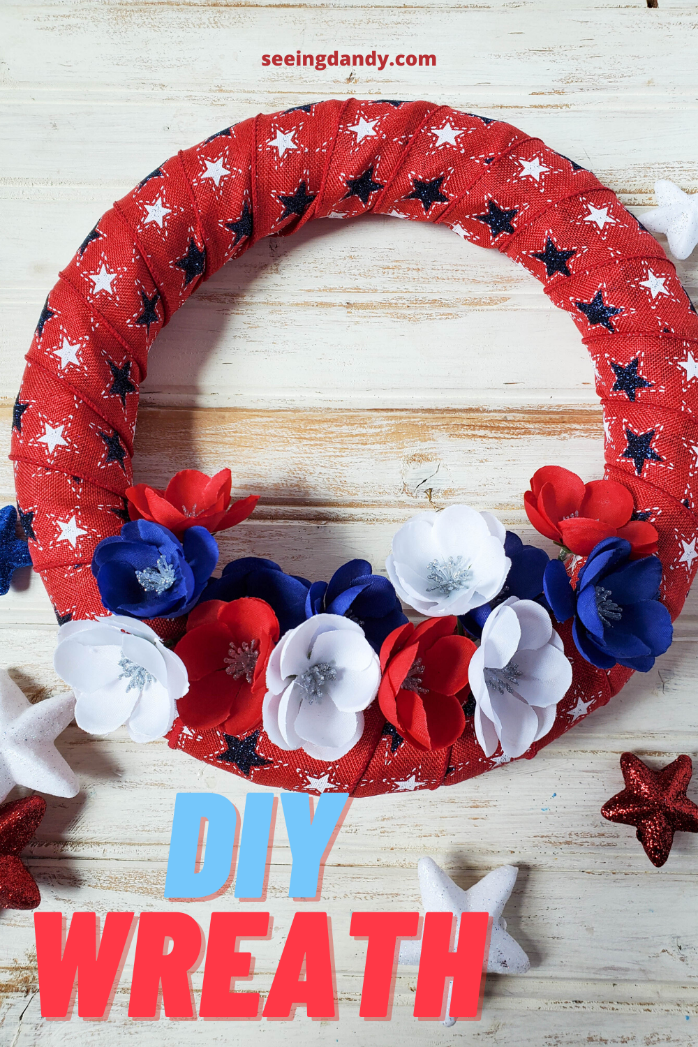 easy diy patriotic star wreath, 4th of july, red white blue home decorating, star wreath, poppy wreath, diy holiday wreath, holiday decorations, red white blue poppies, poppy flowers
