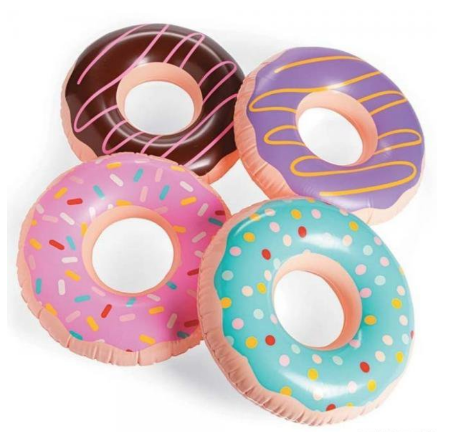 4 pack donut floating rings, sprinkles, stripes, polka dots, icing, chocolate donut, strawberry, purple, pink donut, teal donus