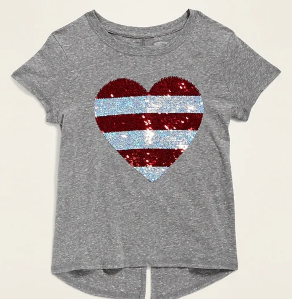girls heart sequin Old Navy patriotic shirt, americana outfits