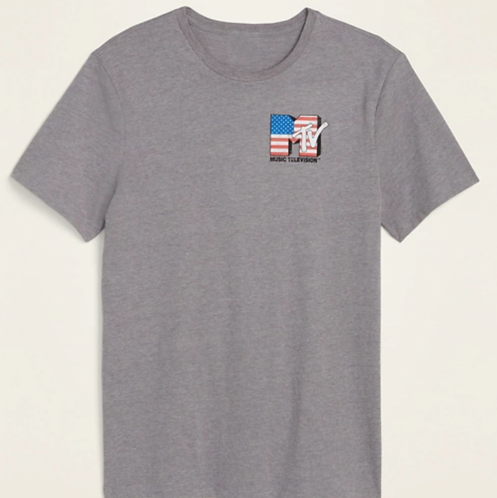 mens old navy MTV shirt, patriotic tee shirt, MTV american flag