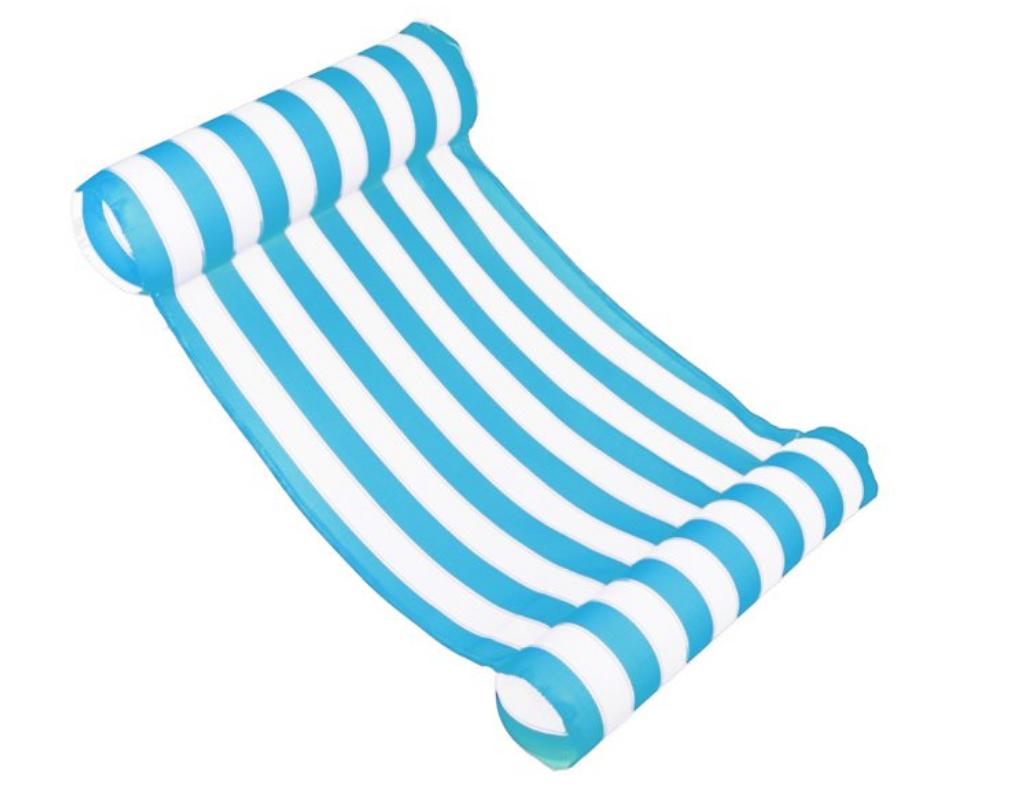 blue white stripe floating water hammock