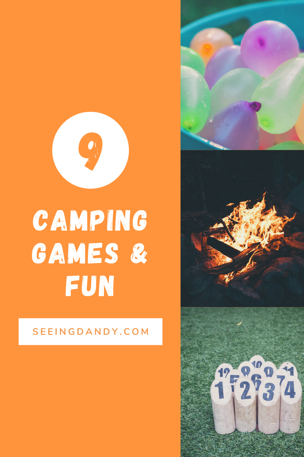 camping games, family fun, outdoor fun, outdoor activities, water balloon toss game, campfire story, lawn games, lawn bowling