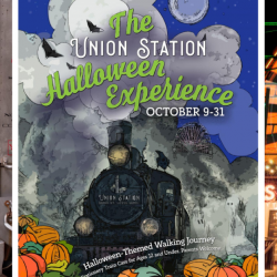 st louis family fun, halloween st louis, union station halloween event, st louis wheel, witch costume, pirate costume, train yard, train shed, historic trains