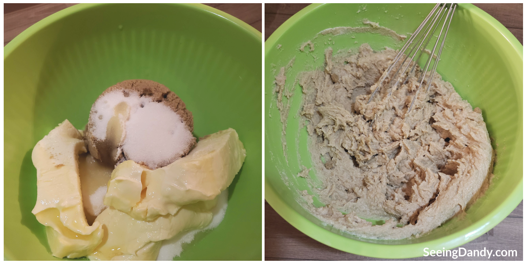 mixing cookie recipe, sugar, brown sugar, butter, whisk, green bowel