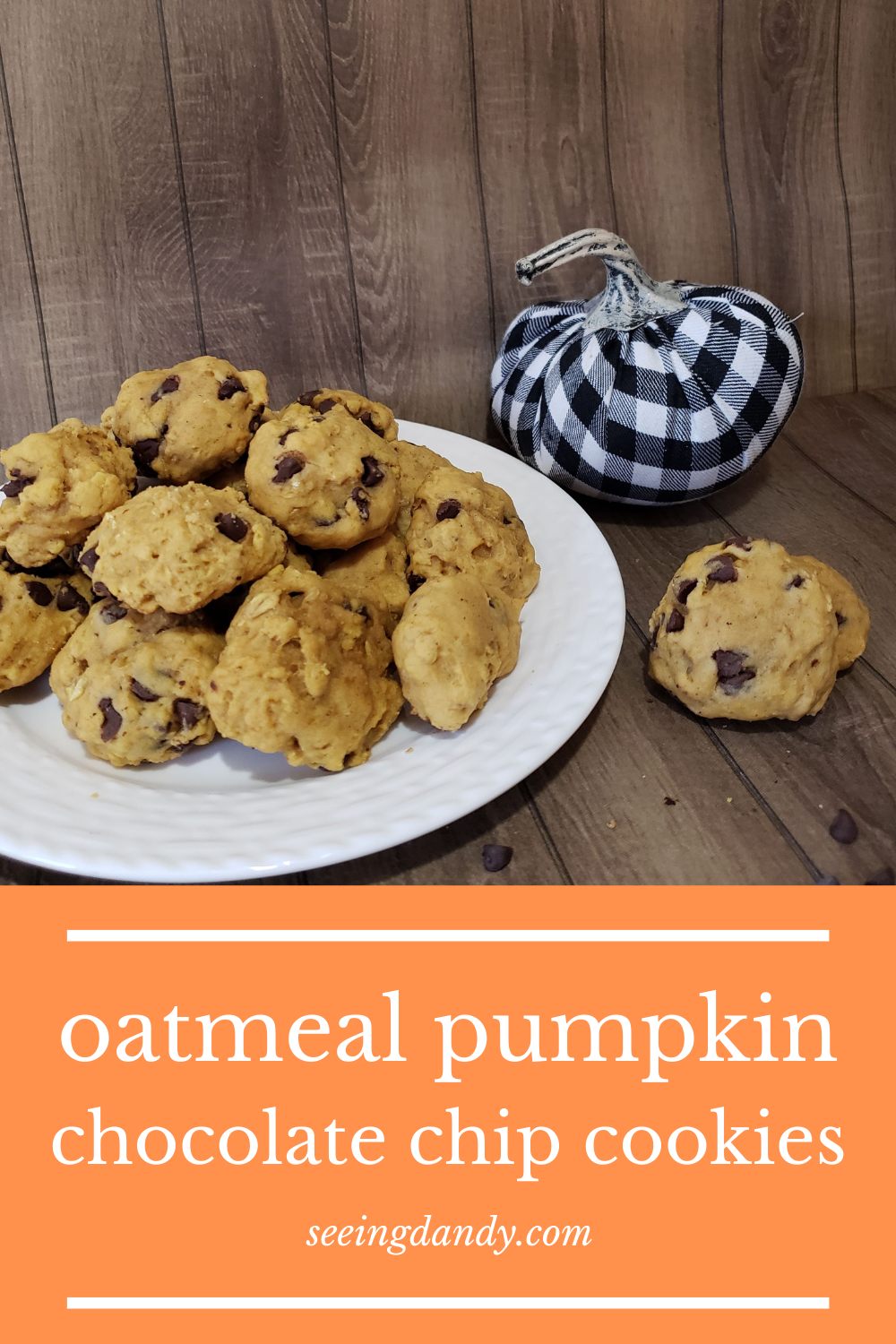 fall cookies, pumpkin chocolate chip cookies, fall recipes, delicious cookies, oatmeal cookie recipe, flannel pumpkin
