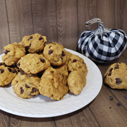 pumpkin chocolate chip cookies, fall recipes, delicious cookies, oatmeal cookie recipe