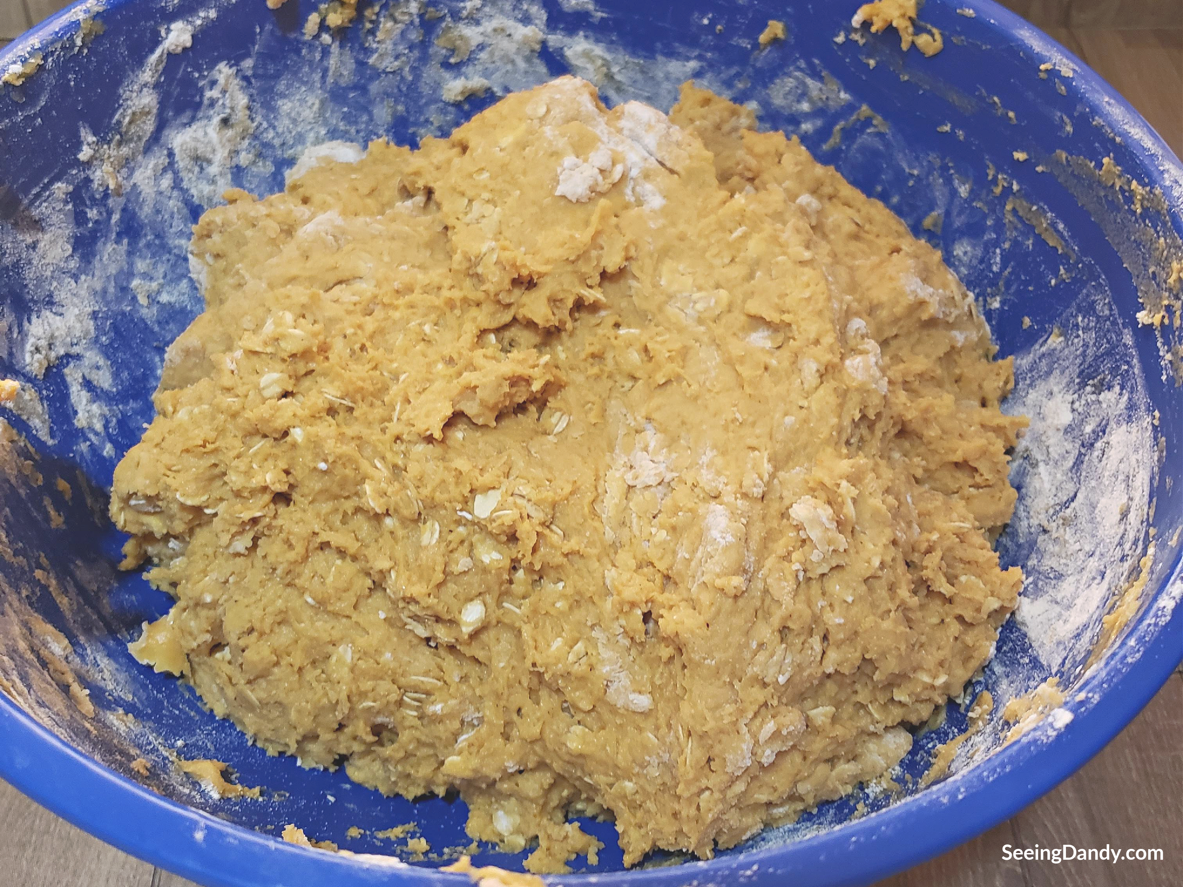 oatmeal cookie recipe, pumpkin cookie recipe, blue mixing bowl
