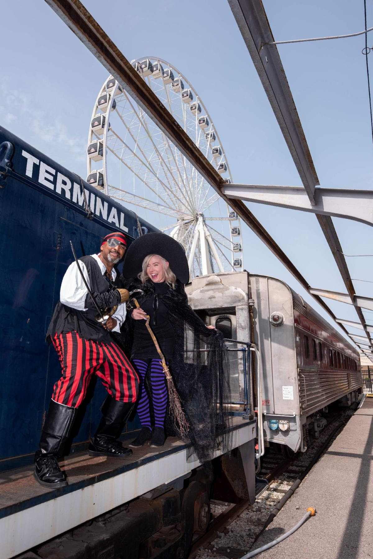 st louis wheel, halloween witch, halloween pirate, train car, st louis union station, train shed