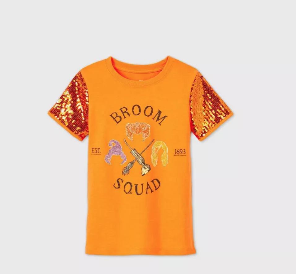 broom squad, Hocus Pocus orange sequin shirt
