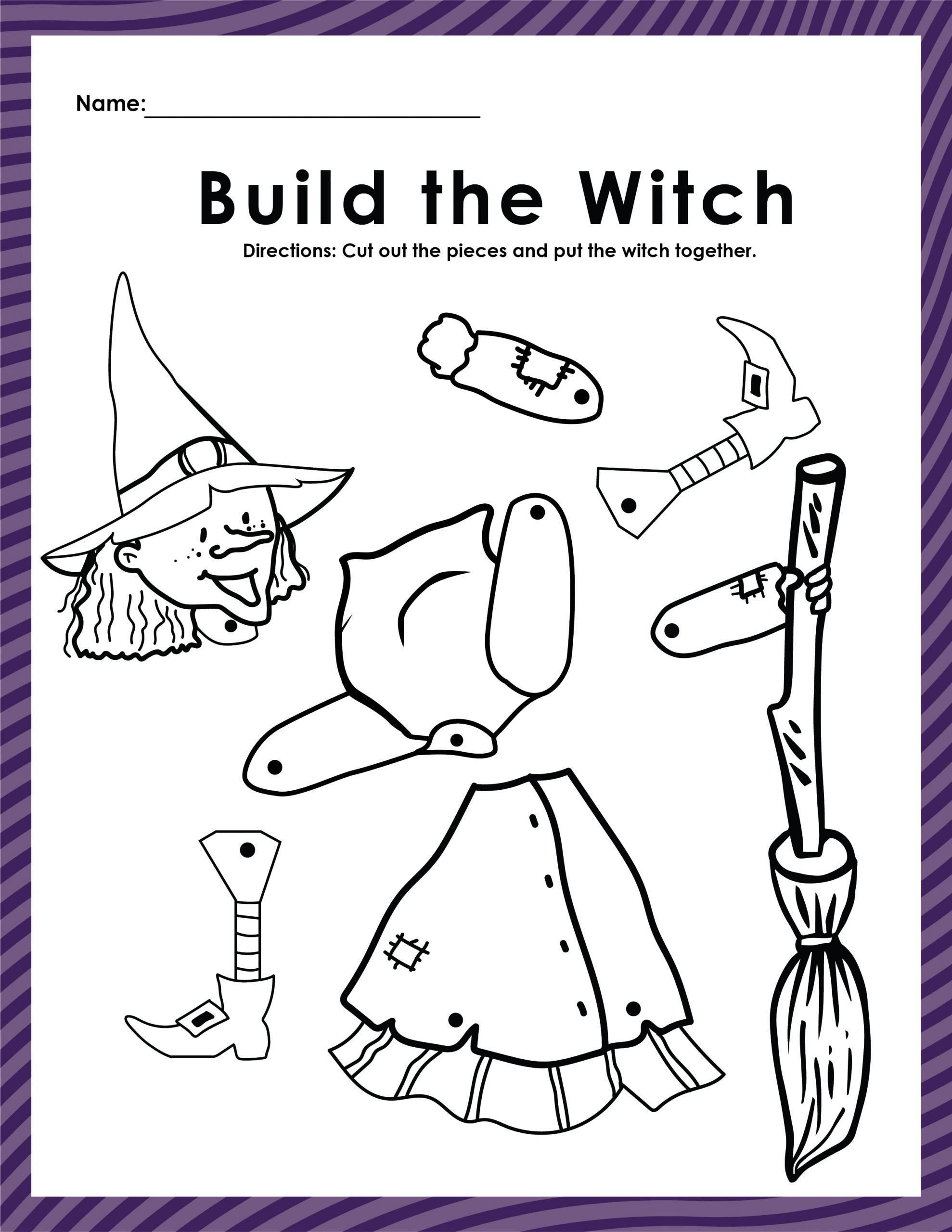 build a witch printable, halloween fun, school halloween party, free halloween printables