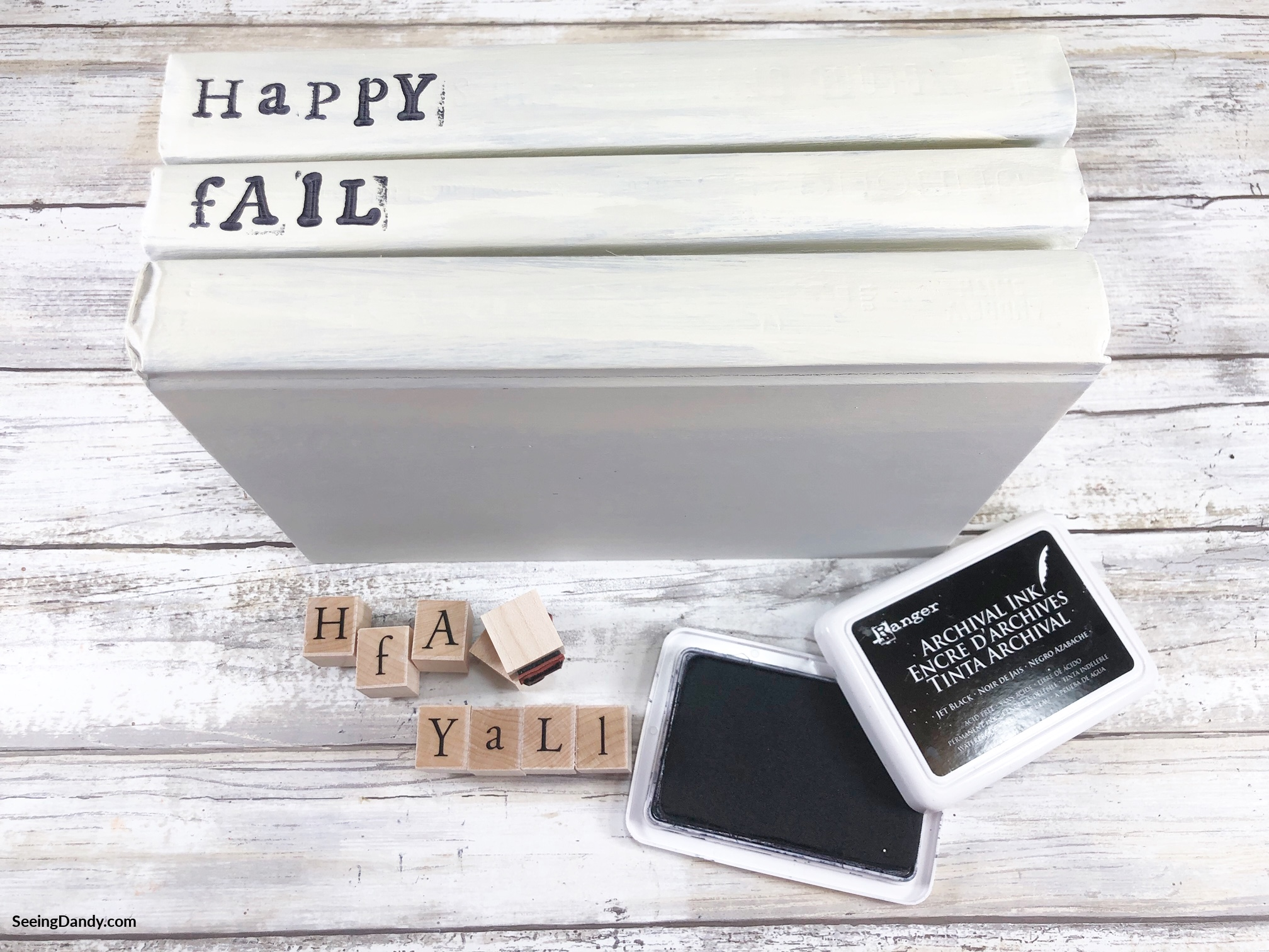wooden stamps, diy book stack, fall decor, white book stack, happy fall, black ink pad