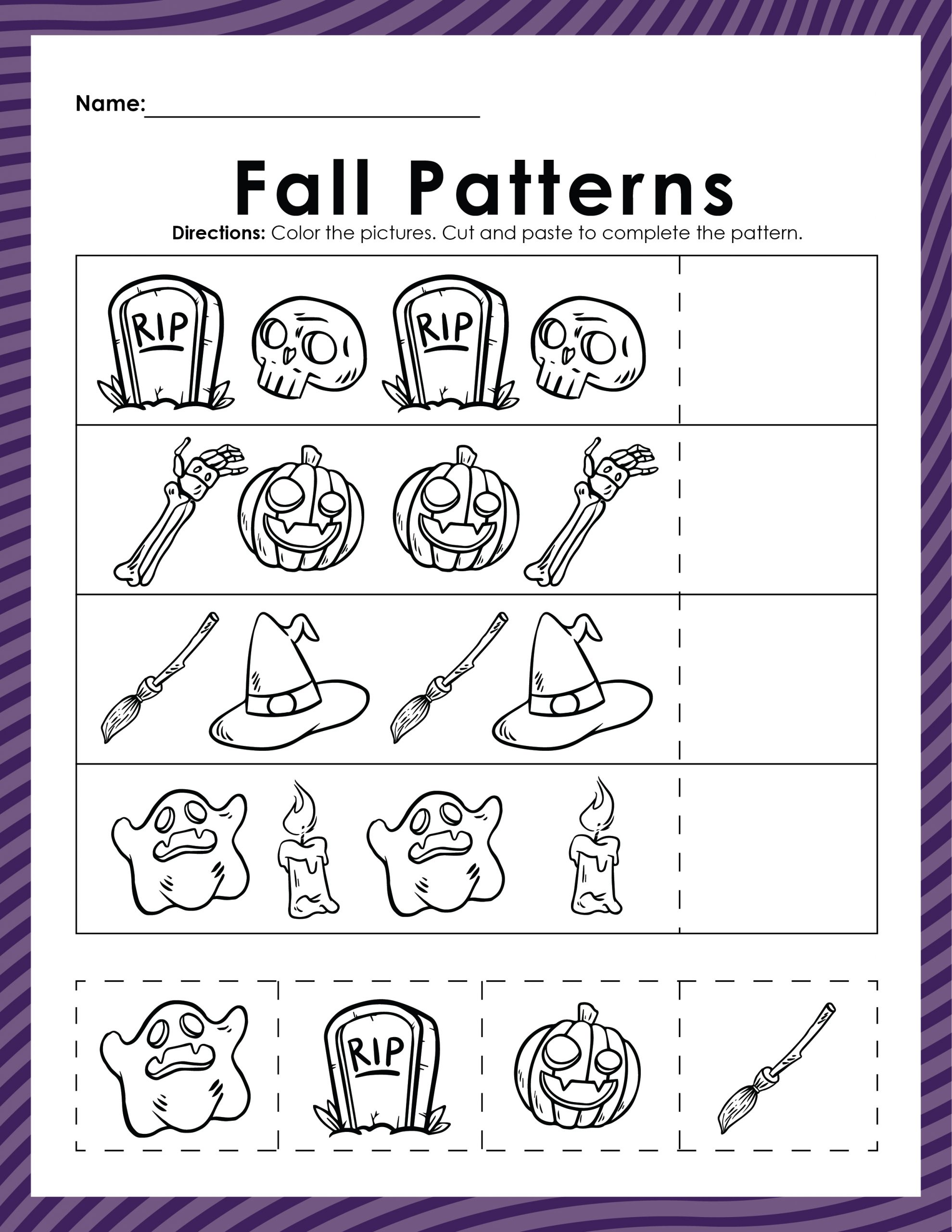 fall patterns coloring sheet, halloween coloring page