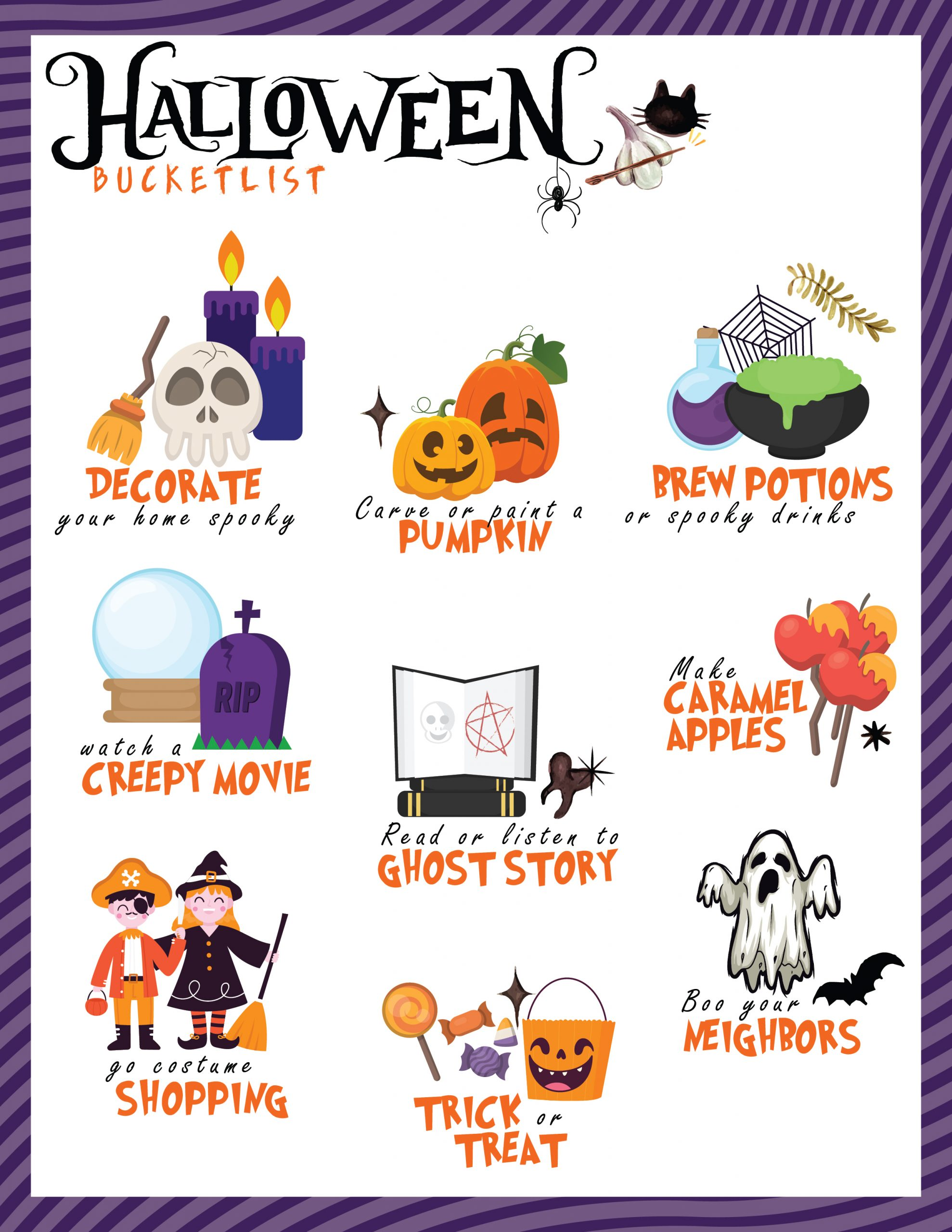 free printable, family halloween bucket list, family fun, halloween ideas, fall activities, fall fun, halloween activities, diy