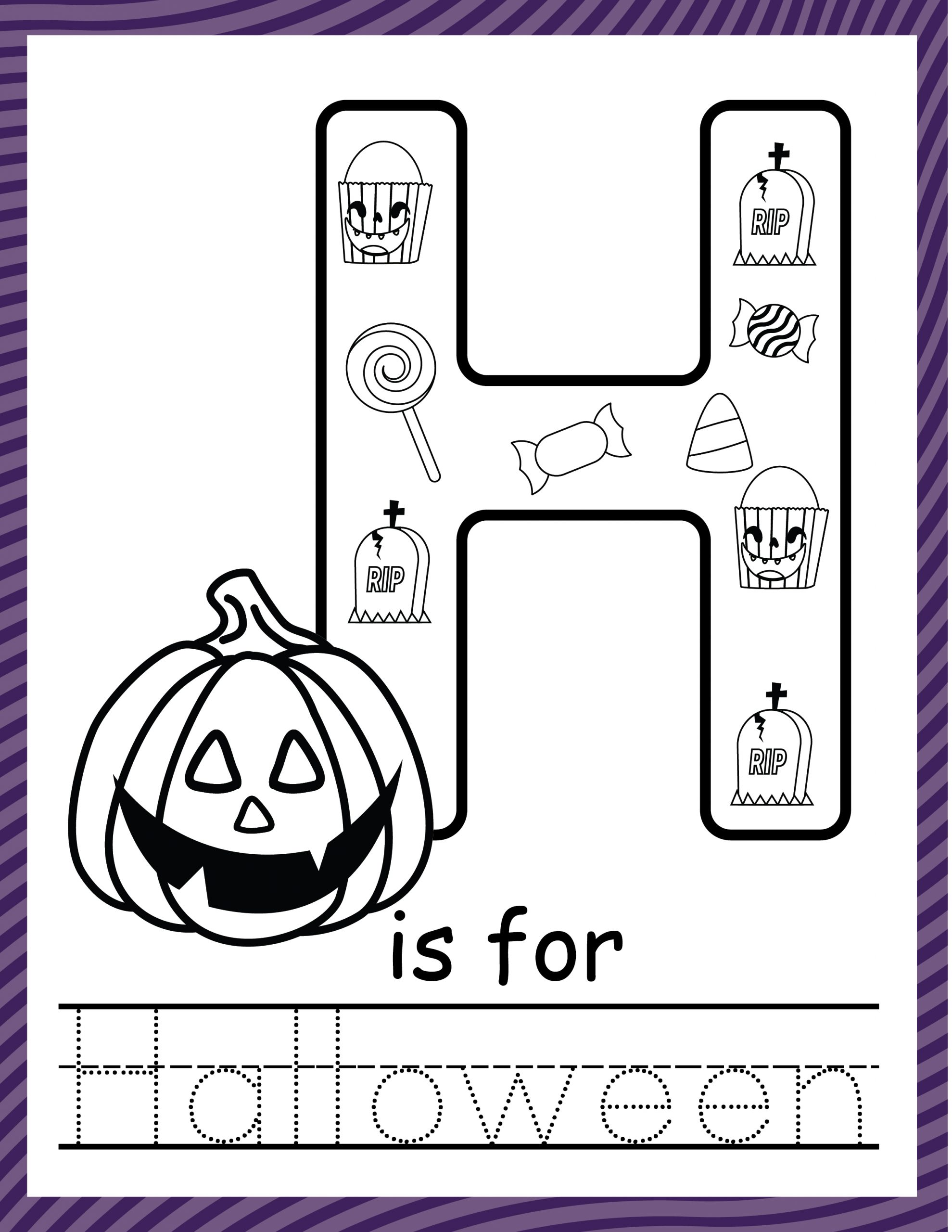 Halloween alphabet letter printable coloring sheet