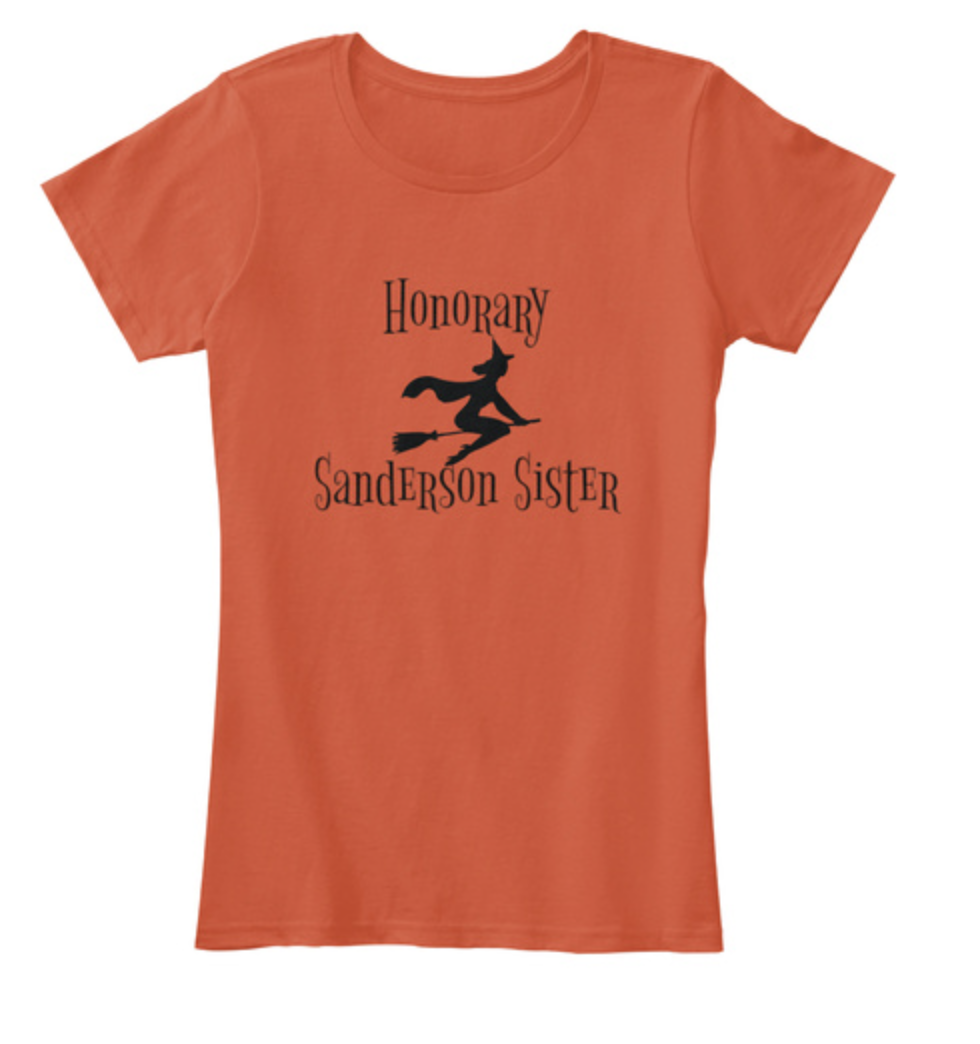 honorary sanderson sister shirt, halloween style, hocus pocus shirt, hocus pocus fashion, fall fashion, Disney fashion, flying witch shirt, witch on broom silhouette