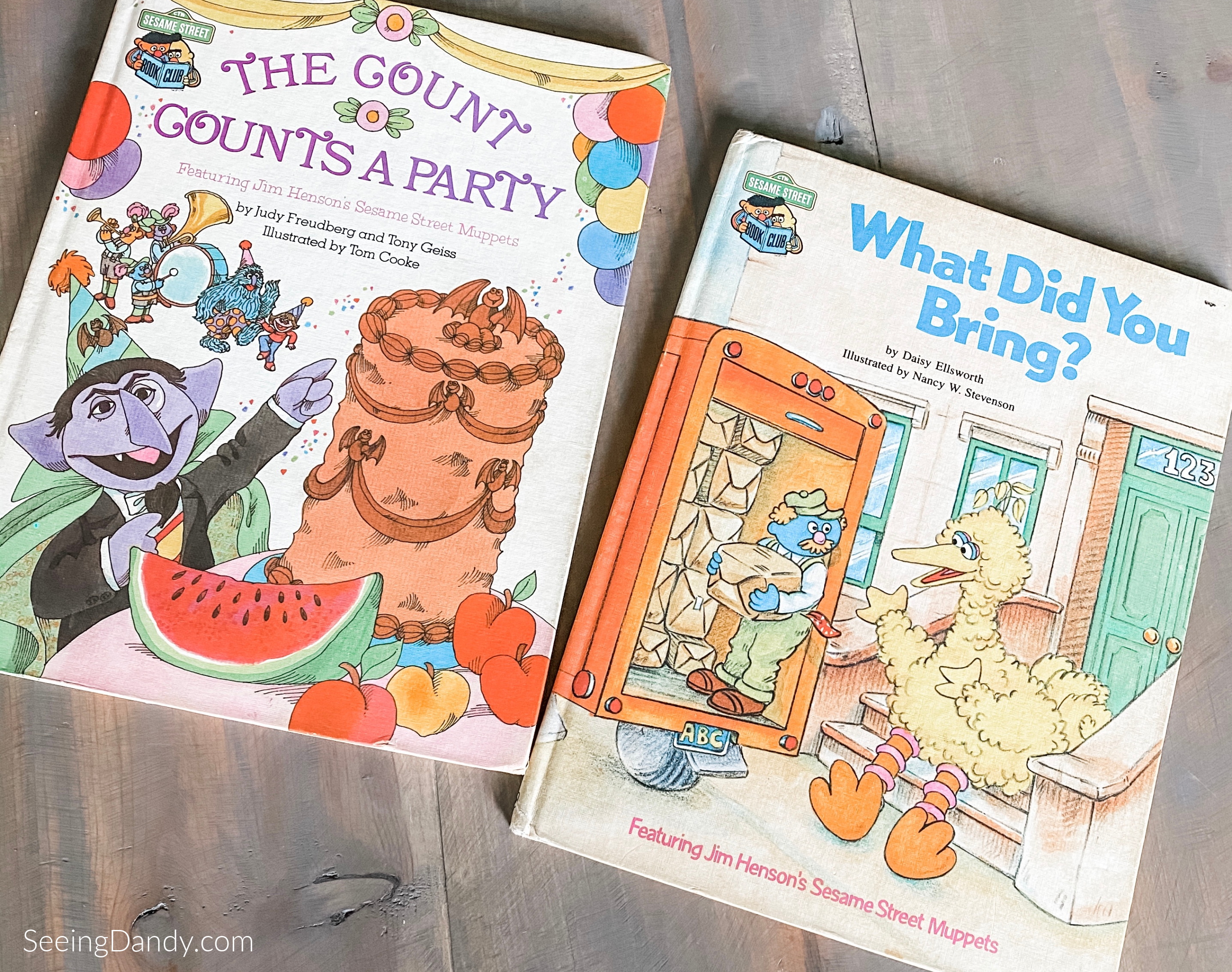 Sesame Street Books, childrens books, classic sesame street books, sesame street book club, favorite books, what did you bring book, the count counts a party book, big bird