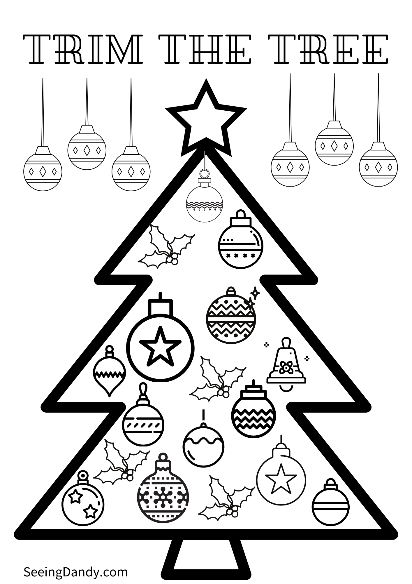 kids christmas coloring page, diy coloring sheet, trim the tree, free printable, coloring sheet, kids crafts, school christmas party, holiday fun