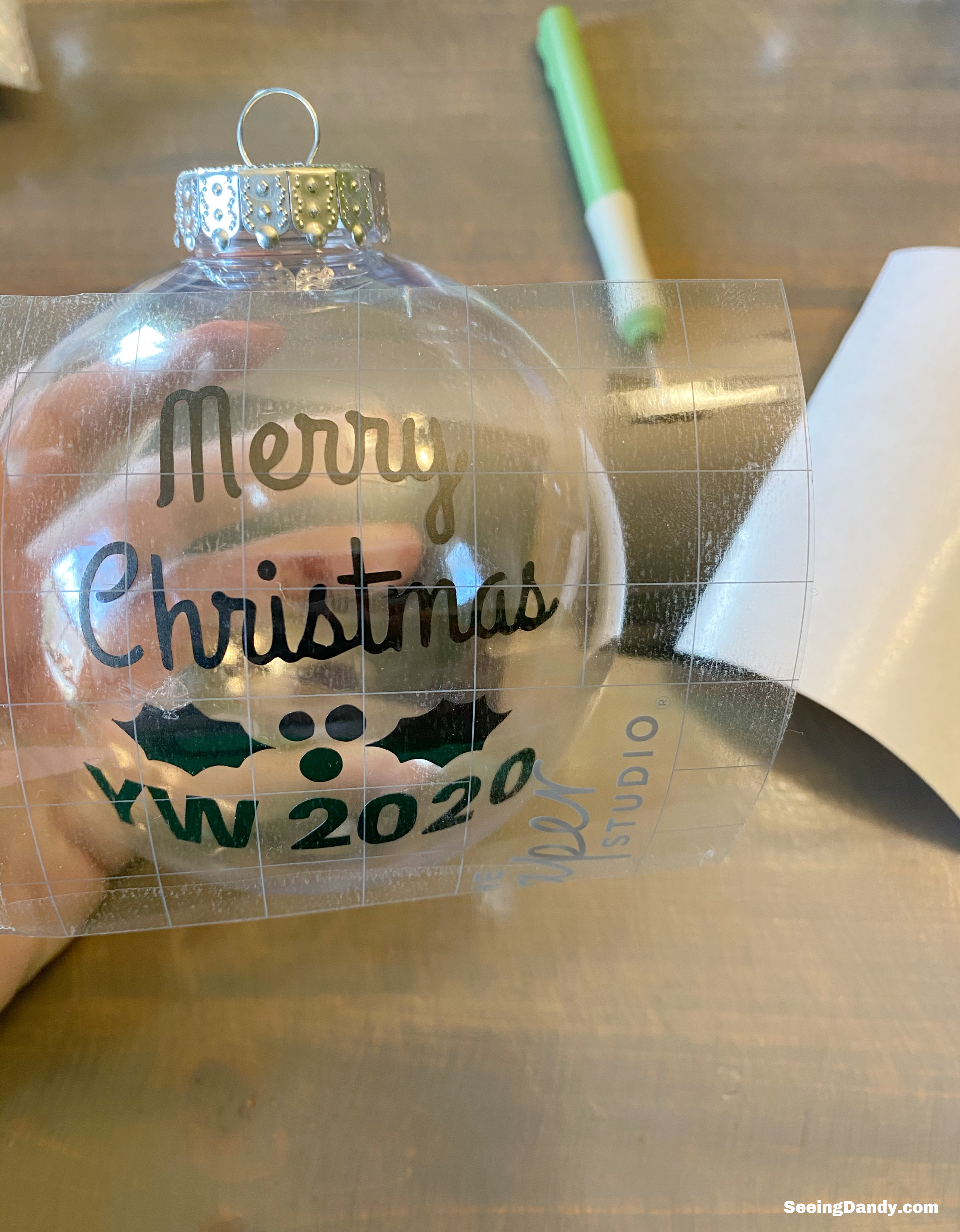 merry christmas yw 2020 vinyl, holly berry vinyl image, clear craft ornaments