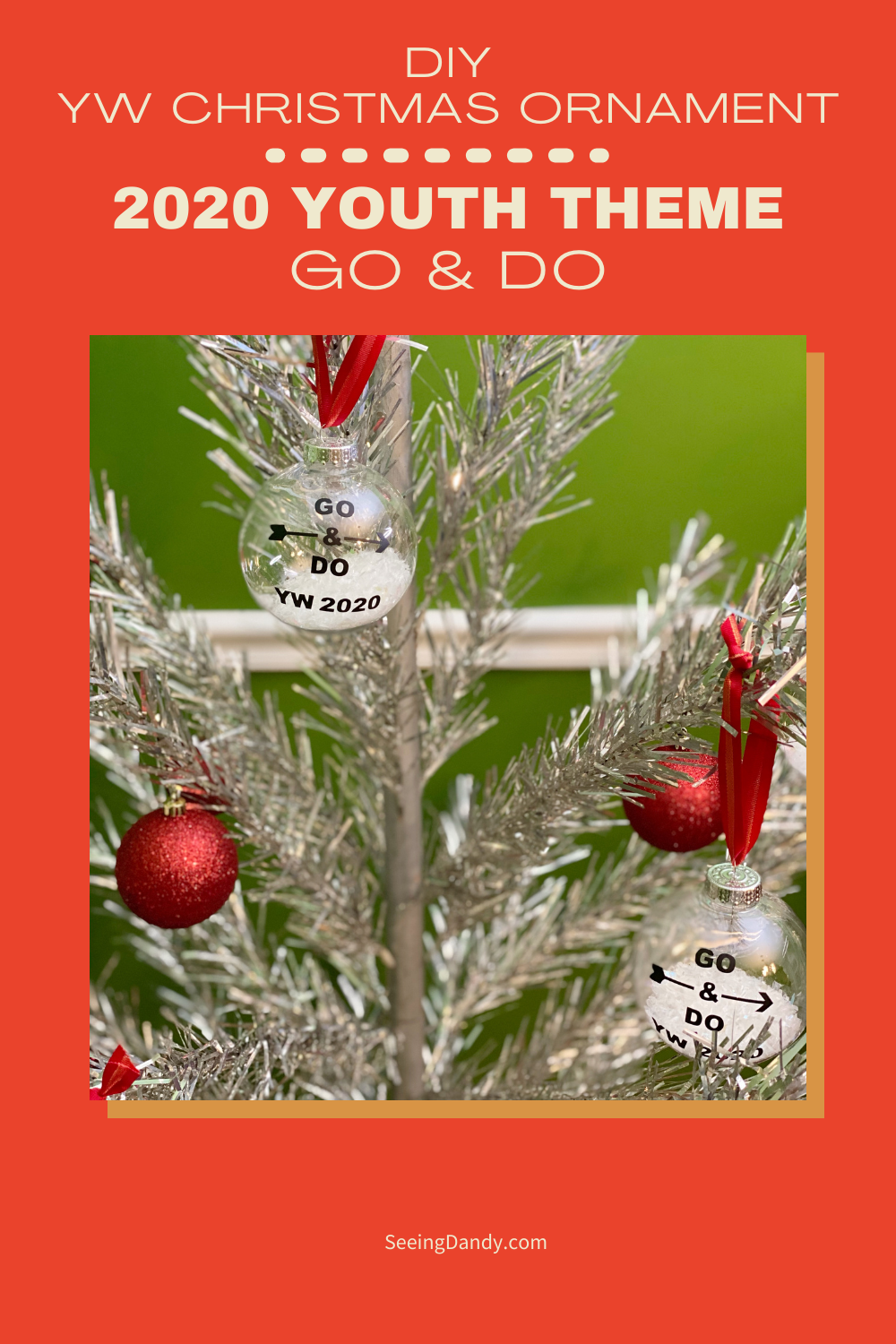 DIY YW Christmas ornament, clear ball ornaments, craft ornaments, plastic ornaments, 2020 youth theme, vintage christmas tree, lds christmas ornaments, aluminum christmas tree, retro red christmas ornaments, go and do, the church of jesus christ of latter day saints, silver tree, easy to make christmas ornaments, free svg file