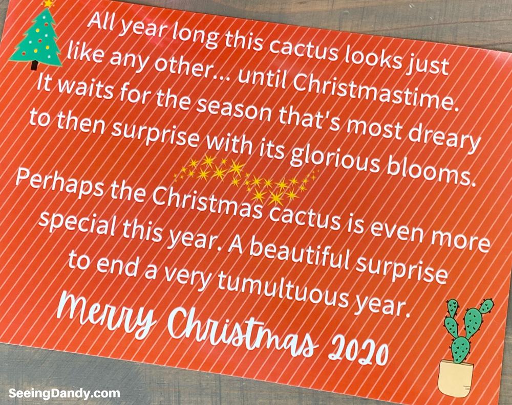 christmas cactus printable gift card, free printables, merry christmas 2020