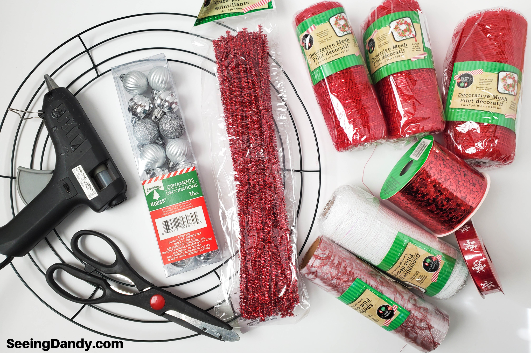 dollar tree craft supplies, mesh wreath items, red ribbon, diy wreath, red mesh, red sparkle pipe cleaners, mini silver christmas ornaments, white tulle, christmas crafting, christmas decoration