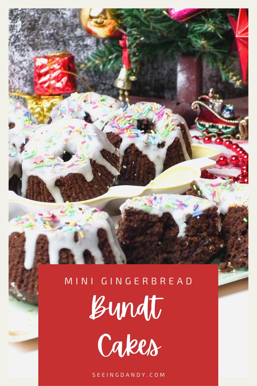 mini gingerbread bundt cakes, holiday desserts, santa sleigh, christmas decorations, christmas tree, individual desserts, dessert recipe, christmas recipes, christmas cake, christmas dessert