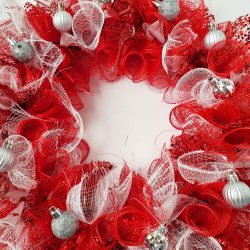diy deco mesh wreath, red sparkle mesh, dollar tree craft, silver ornaments, christmas wreath, valentine wreath, easy craft, diy wreath, holiday decorations