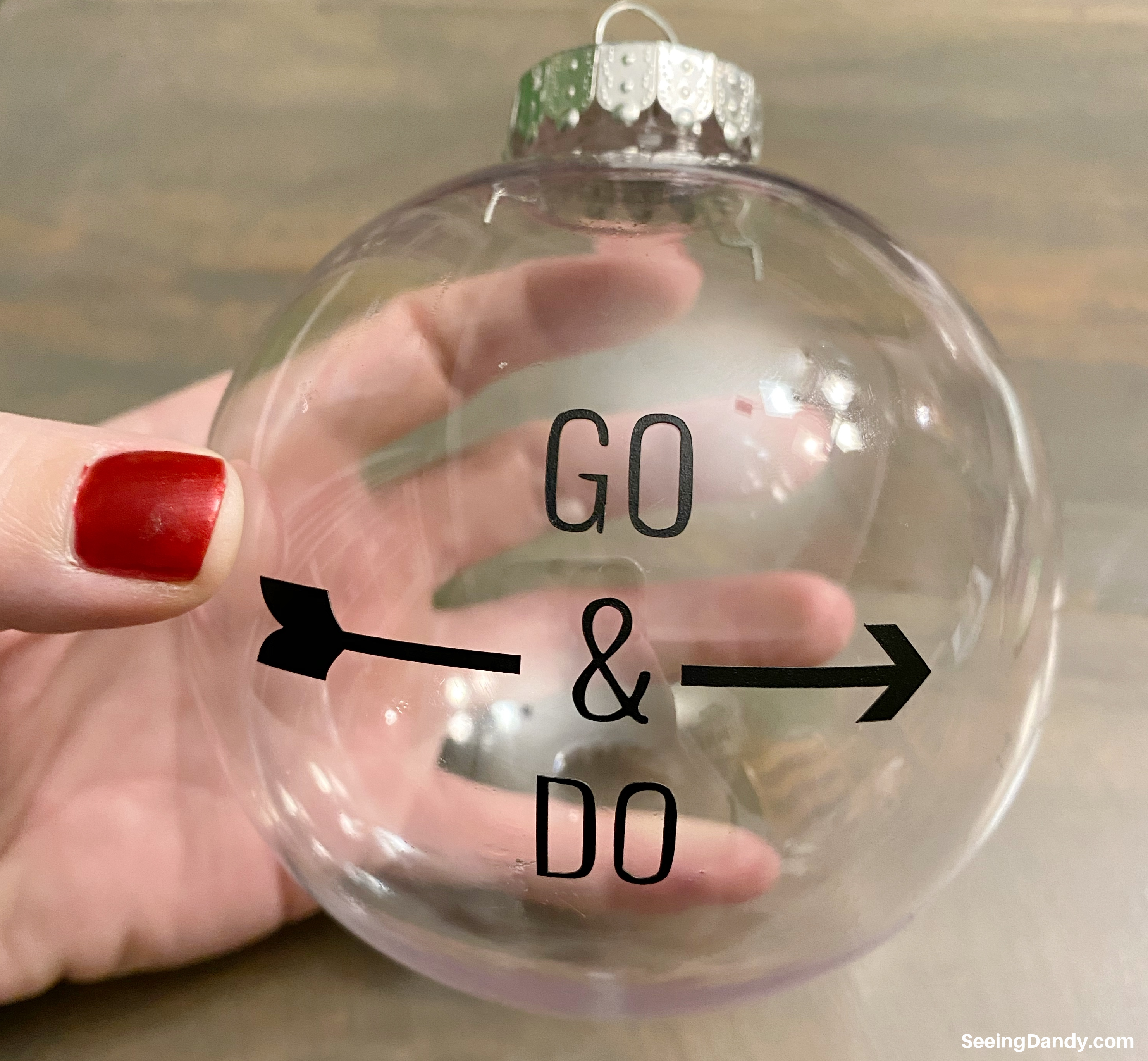 go and do theme christmas ornament, lds christmas ornaments, youth theme 2020, the church of jesus christ of latter day saints, plastic ornament, clear ball ornament, vinyl lettering